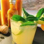 Limonade aus zuckerfreiem Ingwersirup mit Minze