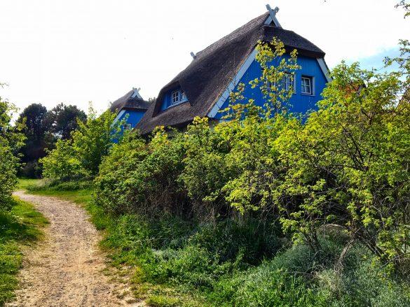 Blaue Häuser in Kloster auf Hiddensee