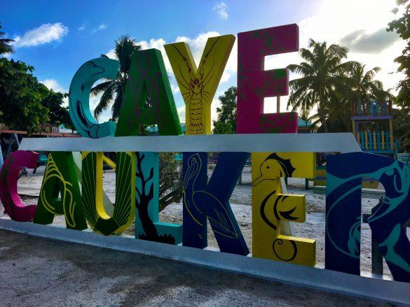 Caye Caulker Signatur am Strand