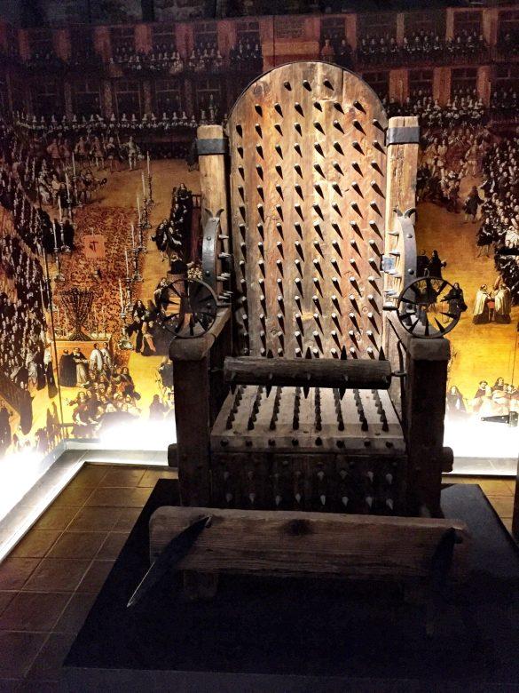 Folterstuhl im Foltermuseum Oude Steen in Brügge