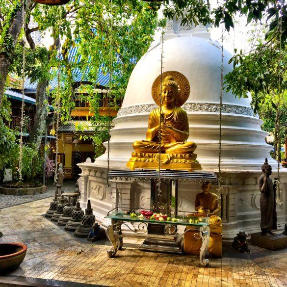 Budha vor Stupa im Gangaramaya Tempel auf Sri Lanka